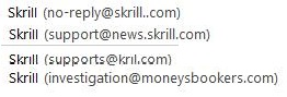 Email Addresses Used for the Scam