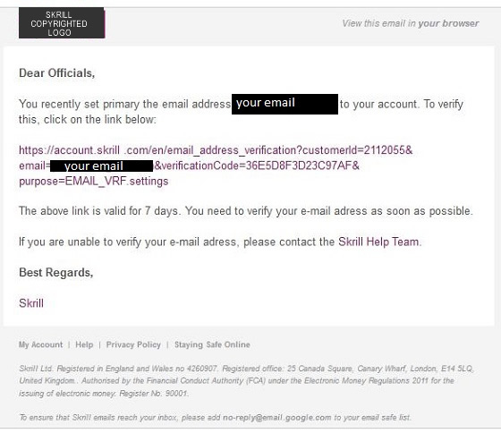 Skrill Email Scam